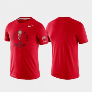 For Men's College T-Shirt Rivalry Buckeye Scarlet Tri-Blend Performance