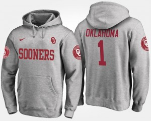 Gray OU For Men's No.1 #1 College Hoodie