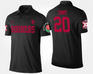 Billy Sims College Polo OU Sooners Bowl Game Black Big 12 Conference Rose Bowl #20 For Men