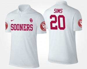Men's Sooners White Billy Sims College Polo #20