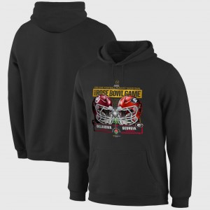 College Hoodie OU Sooners For Men's vs. Georgia Bulldogs 2018 Rose Bowl Playoff Dueling First Down Bowl Game Black