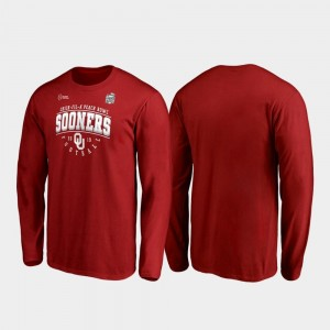 Tackle Long Sleeve OU Sooners Crimson 2019 Peach Bowl Bound For Men College T-Shirt
