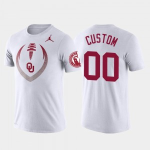 College Customized T-Shirt #00 White For Men's Football Icon Performance OU
