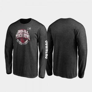 2019 Peach Bowl Bound OU Sooners For Men Neutral Stiff Arm Long Sleeve College T-Shirt Heather Charcoal