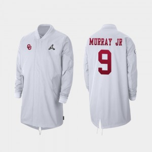 Oklahoma Sooners Men's #9 White Kenneth Murray College Jacket 2019 Football Playoff Bound Full-Zip Sideline