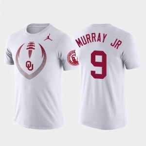 Football Icon Men's #9 Sooners Performance White Kenneth Murray College T-Shirt