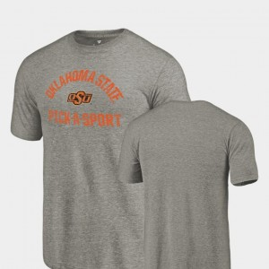 College T-Shirt For Men's Gray Cowboys Tri-Blend Distressed Pick-A-Sport