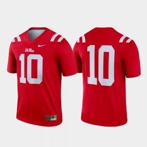Red For Men's Legend College Jersey Football #10 Ole Miss Rebels