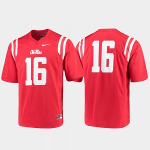 College Jersey Red For Men Ole Miss Football #16 Game