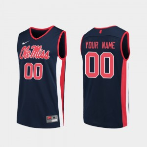 University of Mississippi Basketball #00 Mens College Customized Jersey Navy Replica