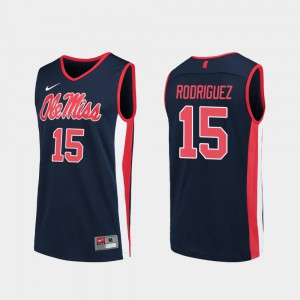 Luis Rodriguez College Jersey Ole Miss Replica #15 Navy Basketball Mens
