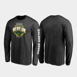 College T-Shirt Oregon Ducks 2020 Rose Bowl Bound For Men's Neutral Stiff Arm Long Sleeve Heather Charcoal