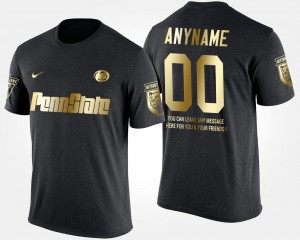 College Custom T-Shirt Short Sleeve With Message Men #00 Black Gold Limited Penn State