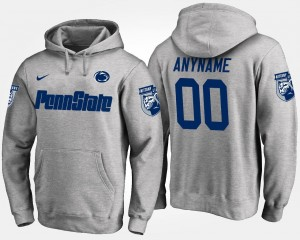Gray #00 College Customized Hoodies Men's Penn State Nittany Lions