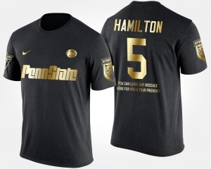Gold Limited #5 Men Short Sleeve With Message Penn State Black DaeSean Hamilton College T-Shirt