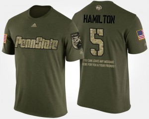 Men's Military Camo DaeSean Hamilton College T-Shirt Penn State #5 Short Sleeve With Message
