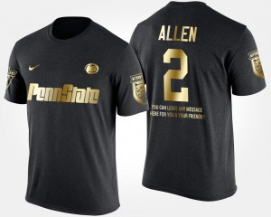 Gold Limited #2 Black Mens Marcus Allen College T-Shirt Short Sleeve With Message Nittany Lions
