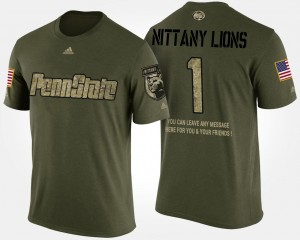 Military Camo College T-Shirt Penn State Men No.1 Short Sleeve With Message #1