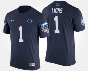 No.1 Fiesta Bowl For Men's Bowl Game Navy College T-Shirt Nittany Lions #1