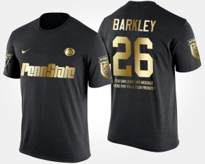 Gold Limited Black Short Sleeve With Message PSU #26 Saquon Barkley College T-Shirt Mens
