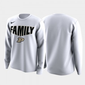 March Madness Legend Basketball Long Sleeve Purdue White College T-Shirt Family on Court Men's