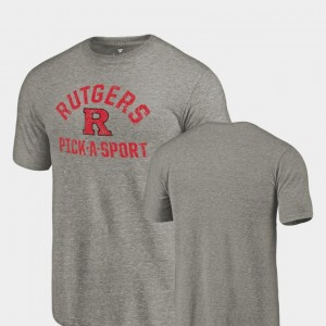 Scarlet Knights Pick-A-Sport Gray College T-Shirt Tri-Blend Distressed Mens