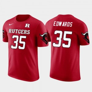 Baltimore Ravens Football For Men #35 Rutgers Gus Edwards College T-Shirt Future Stars Red