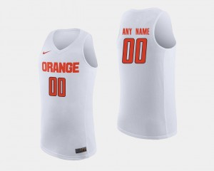 College Customized Jersey #00 Syracuse University For Men's Basketball White