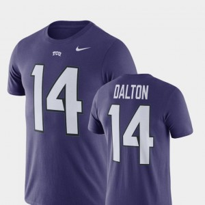 Men Name & Number Football #14 Andy Dalton College T-Shirt Horned Frogs Purple