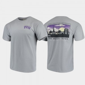 Gray College T-Shirt Comfort Colors Horned Frogs Men's Campus Scenery