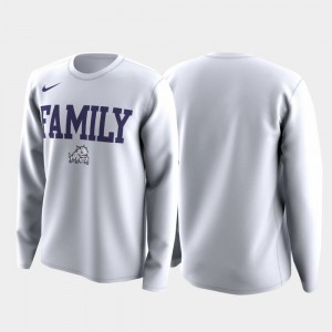 March Madness Legend Basketball Long Sleeve Men College T-Shirt TCU Horned Frogs White Family on Court