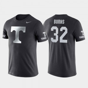 Travel Basketball Performance Anthracite For Men's Tennessee #32 D.J. Burns College T-Shirt