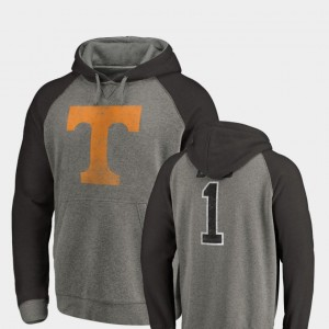 Greatest Dad Heathered Gray College Hoodie Raglan Tri-Blend Big & Tall For Men's University Of Tennessee