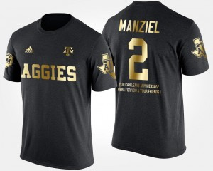 Men Black Johnny Manziel College T-Shirt Gold Limited #2 TAMU Short Sleeve With Message