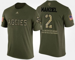 For Men's #2 Texas A&M Aggies Camo Johnny Manziel College T-Shirt Military Short Sleeve With Message