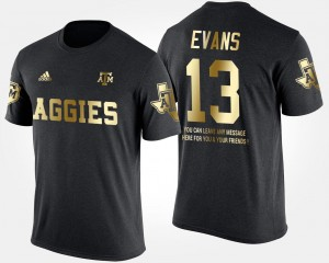 Mike Evans College T-Shirt Mens Gold Limited Black Texas A&M University #13 Short Sleeve With Message