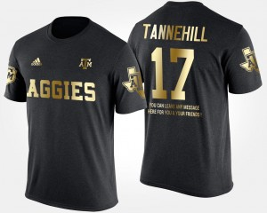 Ryan Tannehill College T-Shirt #17 Short Sleeve With Message Mens Texas A&M Aggies Black Gold Limited