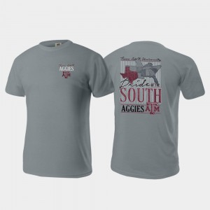 Gray Comfort Colors College T-Shirt Pride of the South For Men's Texas A&M University