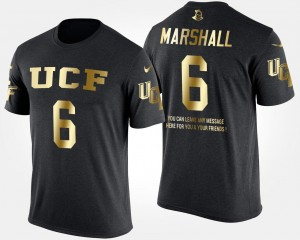 Brandon Marshall College T-Shirt Men Black #6 Gold Limited UCF Knights Short Sleeve With Message