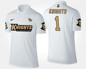 College Polo #1 White No.1 Short Sleeve For Men's UCF Knights
