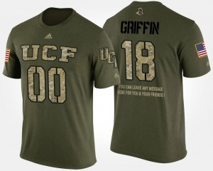 Camo Military Shaquem Griffin College T-Shirt For Men UCF Knights #18 Short Sleeve With Message