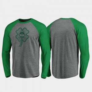 Connecticut Huskies College T-Shirt For Men's Raglan Long Sleeve Celtic Charm Heathered Gray St. Patrick's Day