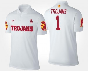 No.1 Short Sleeve College Polo White For Men's USC #1