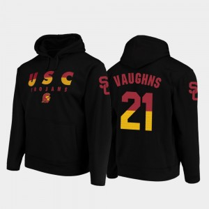 #21 Tyler Vaughns College Hoodie For Men's USC Football Pullover Black Wedge Performance