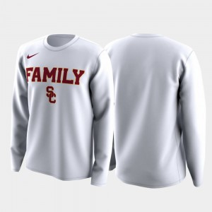 Family on Court USC March Madness Legend Basketball Long Sleeve White Mens College T-Shirt