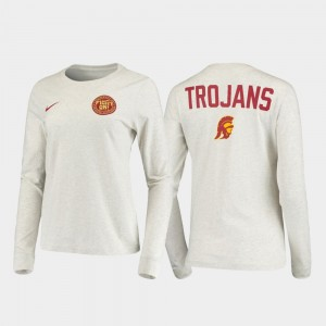 College T-Shirt Trojans White Rivalry Statement Long Sleeve Mens
