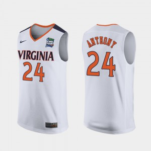 #24 Mens University of Virginia Marco Anthony College Jersey 2019 Final-Four Replica White