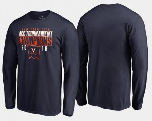 For Men's Navy UVA Cavaliers College T-Shirt 2018 ACC Champions Long Sleeve Basketball Conference Tournament