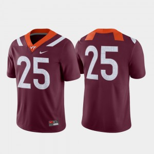 Maroon Football Virginia Tech College Jersey For Men Game #25
