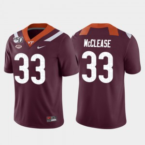 Football Maroon Deshawn McClease College Jersey VA Tech For Men's Game #33